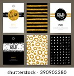set of brochures with hand... | Shutterstock .eps vector #390902380