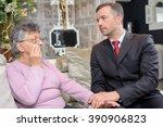 people having conversation in... | Shutterstock . vector #390906823