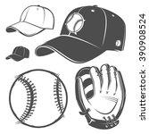 set of baseball cap ball bat...   Shutterstock .eps vector #390908524
