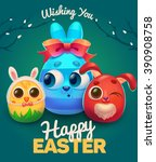 green happy easter card with... | Shutterstock .eps vector #390908758