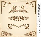 set of floral decorative...   Shutterstock . vector #390918100