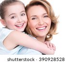 closeup portrait of happy ... | Shutterstock . vector #390928528