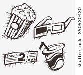 pop corn ticket soft drink and... | Shutterstock .eps vector #390930430