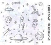 hand drawn set of astronomy... | Shutterstock .eps vector #390935869