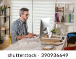 gray haired architect wearing... | Shutterstock . vector #390936649