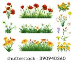 flowers and grass set of vector ... | Shutterstock .eps vector #390940360