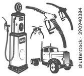 Set Of Retro Gas Station Car...