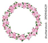 pink floral wreath made with... | Shutterstock . vector #390940429