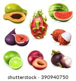juicy ripe sweet fruit. vector... | Shutterstock .eps vector #390940750