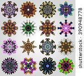 colored mandala symbol vector...   Shutterstock .eps vector #390948778
