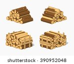 Firewood Stacked In Piles. 3d...