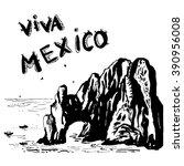 arch of cabo san lucas   mexico ... | Shutterstock .eps vector #390956008