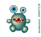 green monster with big eyes and ...   Shutterstock .eps vector #390957178