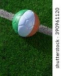soccer ball and national flag... | Shutterstock . vector #390961120