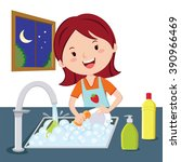 woman washing dishes. vector of ... | Shutterstock .eps vector #390966469