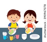 children washing dishes. happy... | Shutterstock .eps vector #390967078