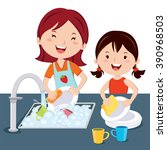 Woman And Girl Washing Dishes....