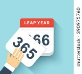 calendar style flat leap year... | Shutterstock .eps vector #390975760