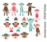 cute sock monkeys vector. | Shutterstock .eps vector #390976366