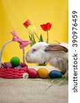 rabbit hunt easter eggs | Shutterstock . vector #390976459