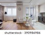 interior of a new modern... | Shutterstock . vector #390986986