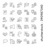 legal icons  linear  monotone.... | Shutterstock .eps vector #390987340