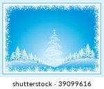 christmas landscape with fir... | Shutterstock .eps vector #39099616