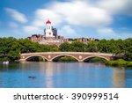 john w. weeks bridge with clock ... | Shutterstock . vector #390999514