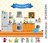 cartoon cute kitchen interior.... | Shutterstock .eps vector #391005394