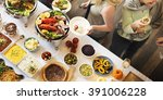 brunch choice crowd dining food ... | Shutterstock . vector #391006228