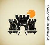 castle gate logo in grunge...   Shutterstock .eps vector #391009978