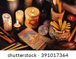 magic objects  candles and the... | Shutterstock . vector #391017364