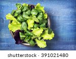 Mixed Green Salad Leaves In A...