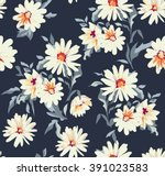 Stock vector pretty daisy floral print seamless background 391023583