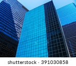 vertical of modern shiny blue... | Shutterstock . vector #391030858