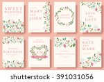 set of flower wedding ornament... | Shutterstock .eps vector #391031056
