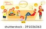 children's characters. family ... | Shutterstock .eps vector #391036363