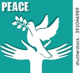 symbol of peace  the hands and... | Shutterstock . vector #391046989