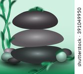 three gray stones lie on the...   Shutterstock .eps vector #391049950