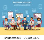 business meeting concept with... | Shutterstock .eps vector #391053373