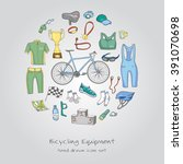 bicycle equipment hand drawn... | Shutterstock .eps vector #391070698