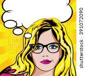 pop art blonde woman with... | Shutterstock .eps vector #391072090
