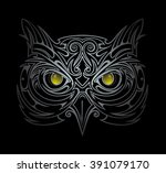 silver owl head tattoo shape in ... | Shutterstock .eps vector #391079170