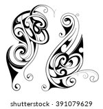 maori ethnic tattoo shapes | Shutterstock .eps vector #391079629