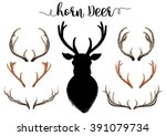 horn dear watercolor with fag... | Shutterstock . vector #391079734