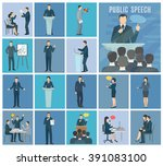 public speaking to live... | Shutterstock .eps vector #391083100