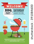 bbq poster with grill and... | Shutterstock .eps vector #391084600