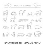 vector set of outline african... | Shutterstock .eps vector #391087540
