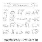 vector set of outline african... | Shutterstock .eps vector #391087540