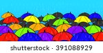many colorful umbrellas concept ...